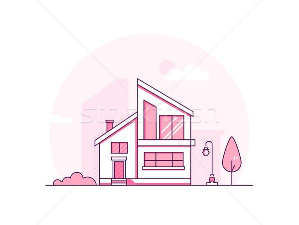 Huisje huis moderne dun lijn ontwerp Stockfoto © Decorwithme