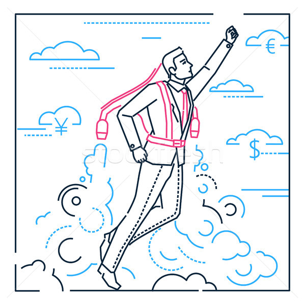Businessman flying on a jet engine - line design style illustration Stock photo © Decorwithme