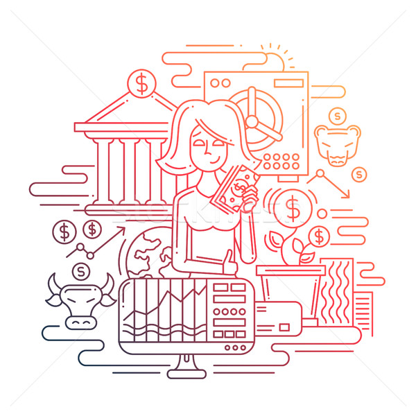 Businesswoman managing money - line design illustration Stock photo © Decorwithme