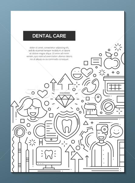 Diş bakımı hat dizayn broşür poster şablon Stok fotoğraf © Decorwithme