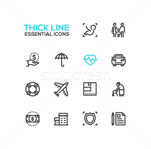 Insurance - modern vector single thick line icons set Stock photo © Decorwithme