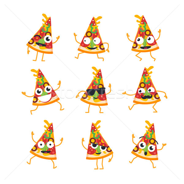 Pizza - vector set of mascot illustrations. Stock photo © Decorwithme
