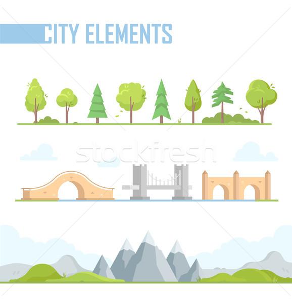 Set of city elements - modern vector cartoon isolated illustration Stock photo © Decorwithme