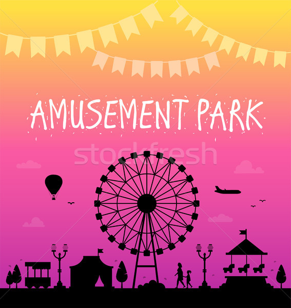 Parco di divertimenti moderno panorama silhouette nice ghirlanda Foto d'archivio © Decorwithme
