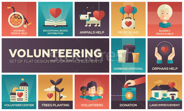 Volunteering - set of flat design infographics elements Stock photo © Decorwithme