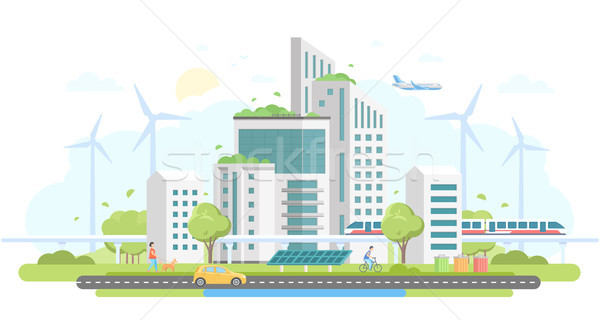 Eco-friendly housing complex - modern flat design style vector illustration Stock photo © Decorwithme