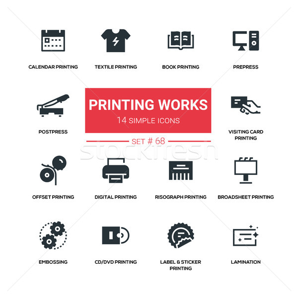 Printing works - line design silhouette icons set Stock photo © Decorwithme