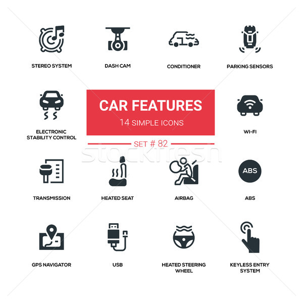 Car features - line design silhouette icons set Stock photo © Decorwithme