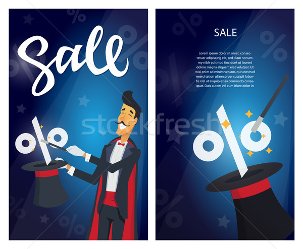 Sale - set of modern vector illustrations with calligraphy text Stock photo © Decorwithme