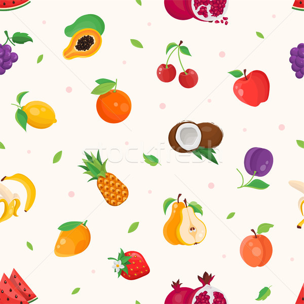 Fresh fruit - modern colorful seamless pattern Stock photo © Decorwithme