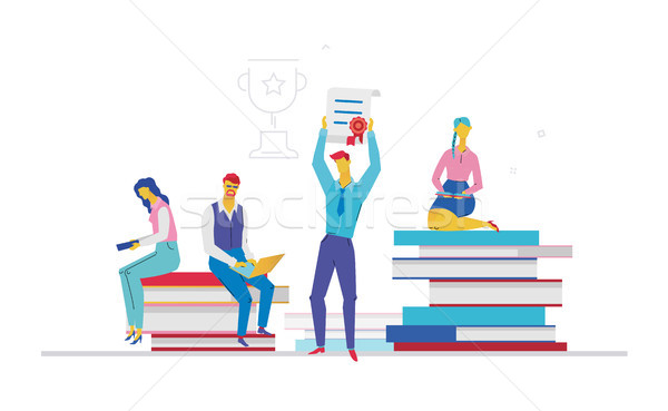 Business team getting a certificate - flat design style colorful illustration Stock photo © Decorwithme