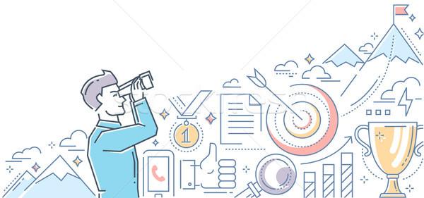 Ambitious goals - line design style illustration Stock photo © Decorwithme