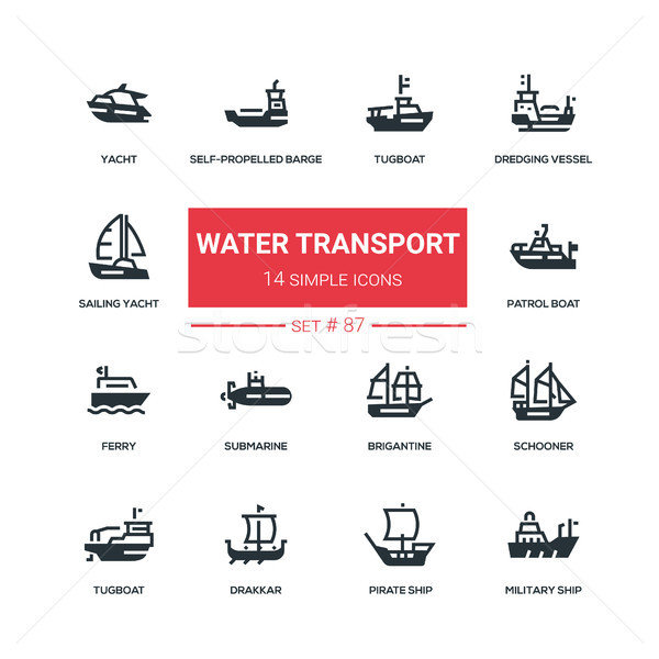 Water transport - flat design style icons set Stock photo © Decorwithme