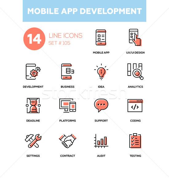 Mobile app development - modern line design icons set Stock photo © Decorwithme