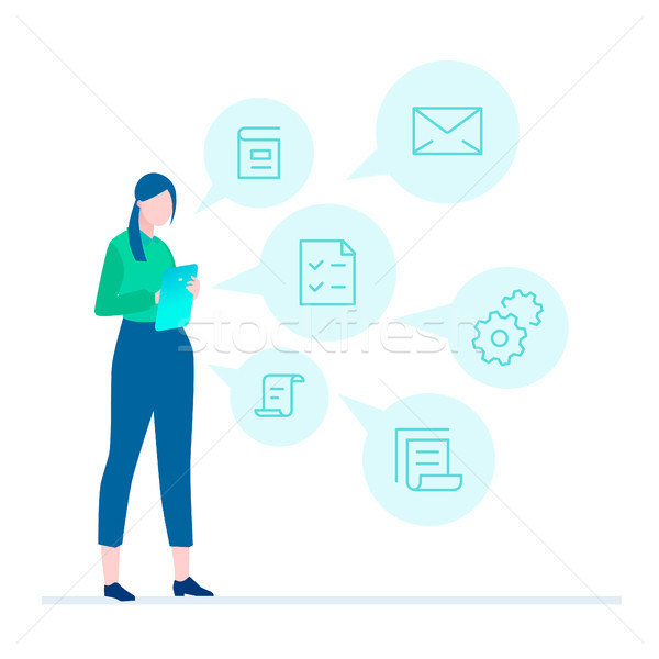 Multitasking - flat design style illustration Stock photo © Decorwithme