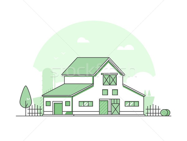 Country life - modern thin line design style vector illustration Stock photo © Decorwithme