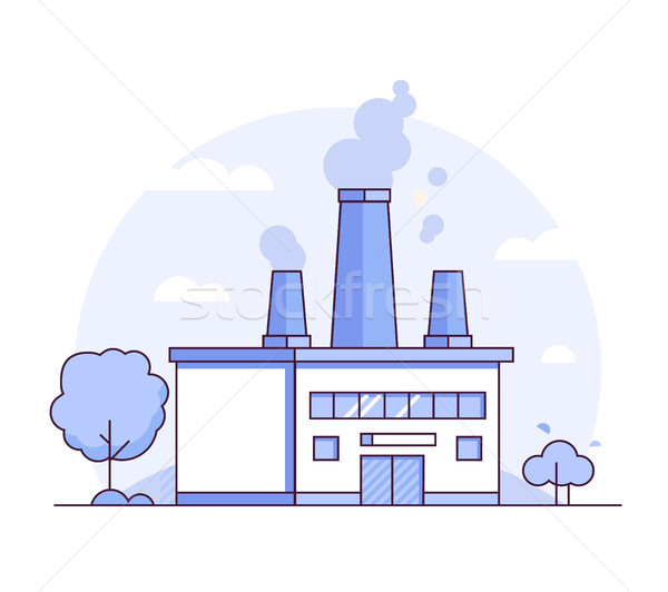Factory - modern thin line design style vector illustration Stock photo © Decorwithme