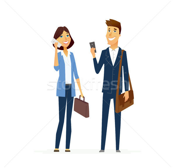 Business man and woman - modern flat design people characters composition. Stock photo © Decorwithme