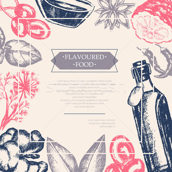 Flavoured Products - vector hand drawn postcard Stock photo © Decorwithme