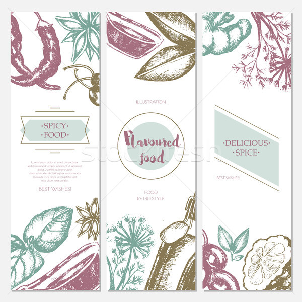 Flavoured Products - hand drawn template banner. Stock photo © Decorwithme