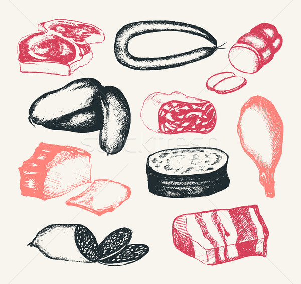 Processed Meat - hand drawn composite illustration Stock photo © Decorwithme