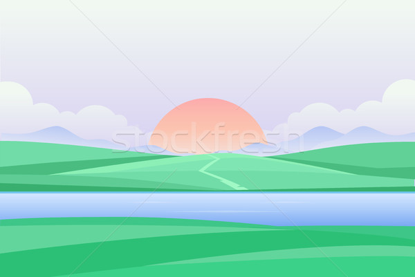 Sonnenuntergang Morgengrauen Fluss modernen schönen Ansicht Stock foto © Decorwithme