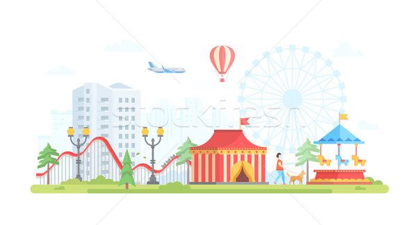 Cityscape with attractions - modern flat design style vector illustration Stock photo © Decorwithme