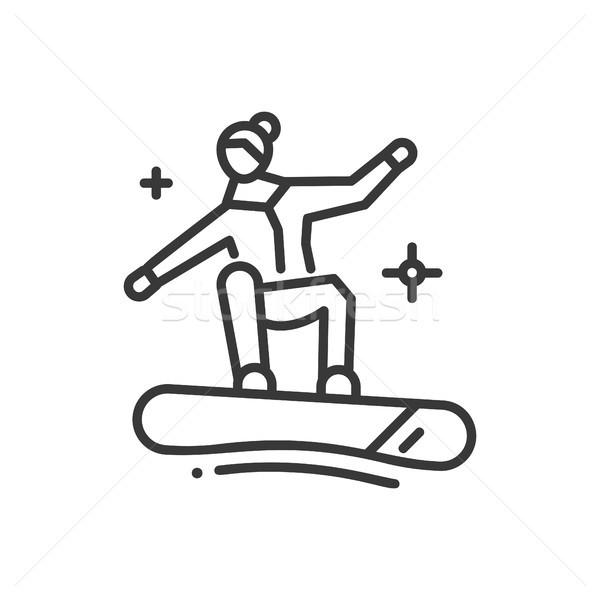 Snowboarding linha projeto isolado ícone branco Foto stock © Decorwithme