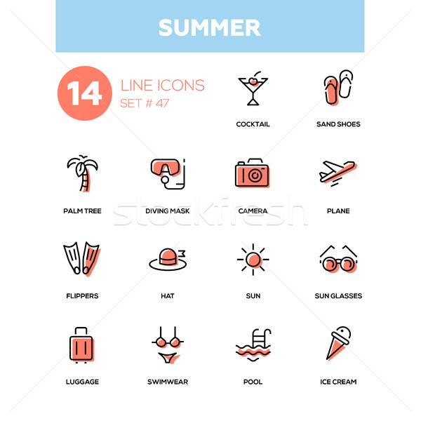 Summer concept - line design icons set Stock photo © Decorwithme