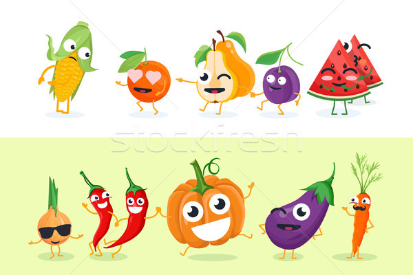 Stock photo: Funny fruit and vegetables - set of vector isolated characters illustrations