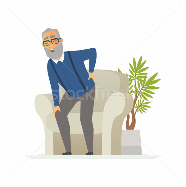 Senior man with a backache - cartoon people characters isolated illustration Stock photo © Decorwithme