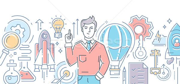 Creative idea - modern line design style illustration Stock photo © Decorwithme