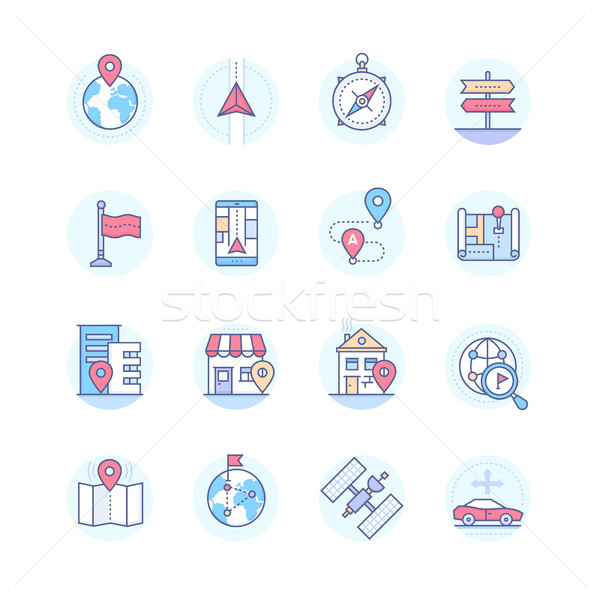 Geolocation - modern vector line design style icons set Stock photo © Decorwithme