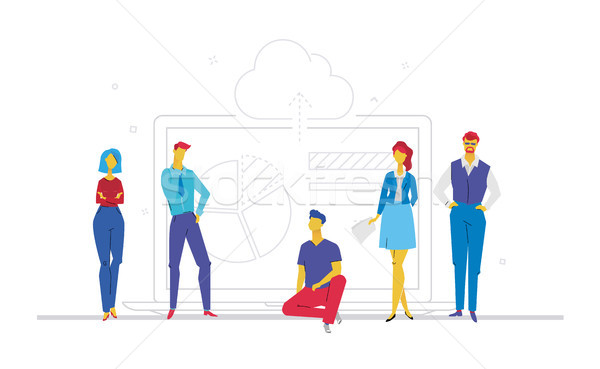Zespół firmy wyniki projektu stylu kolorowy ilustracja Zdjęcia stock © Decorwithme