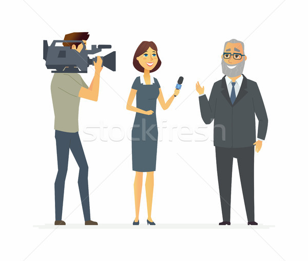 TV presenter having an interview - cartoon people character isolated illustration Stock photo © Decorwithme