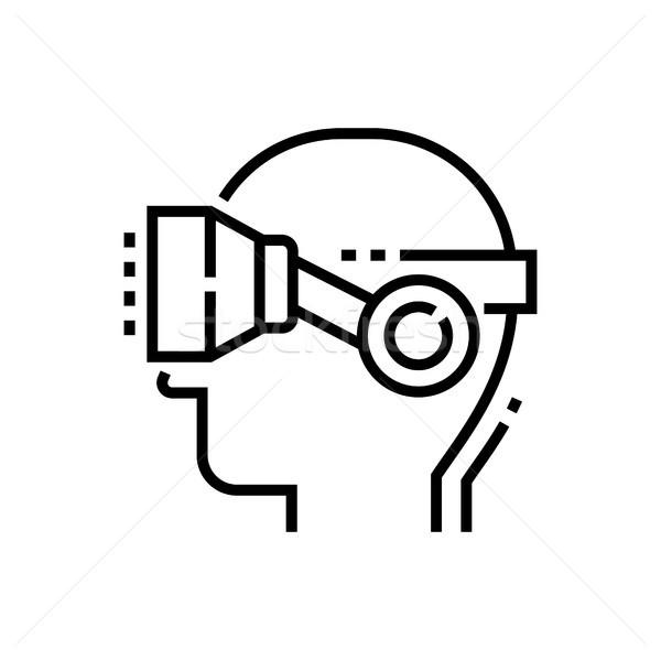 Virtuális valóság szemüveg fej vonal terv Stock fotó © Decorwithme