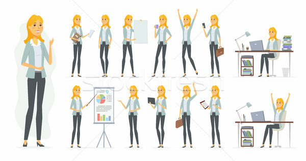 Pretty businesswoman - vector cartoon people character set Stock photo © Decorwithme