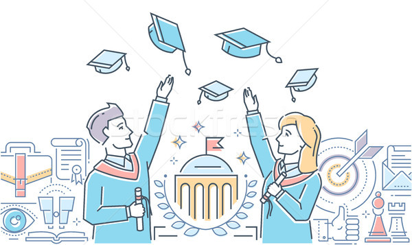 Graduating students - colorful line design style illustration Stock photo © Decorwithme