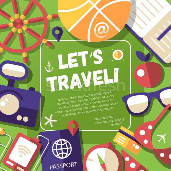 Flyer with modern flat design travel, vacation, tourism icons an Stock photo © Decorwithme