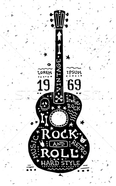 Illustration of vintage grunge label with guitar Stock photo © Decorwithme