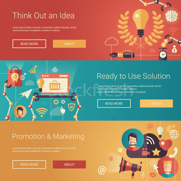 Modern flat design business headers set with icons and infographics elements. Conceptual banners of  Stock photo © Decorwithme