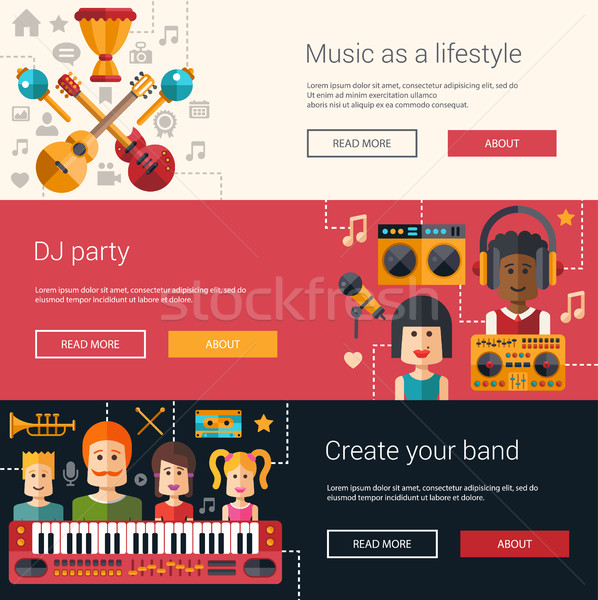 Set of music flat modern illustrations, banners, headers with ic Stock photo © Decorwithme