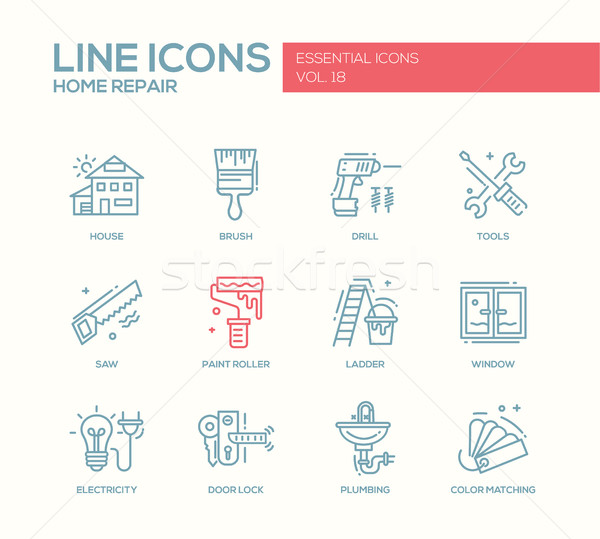 Home repair line design icons set Stock photo © Decorwithme