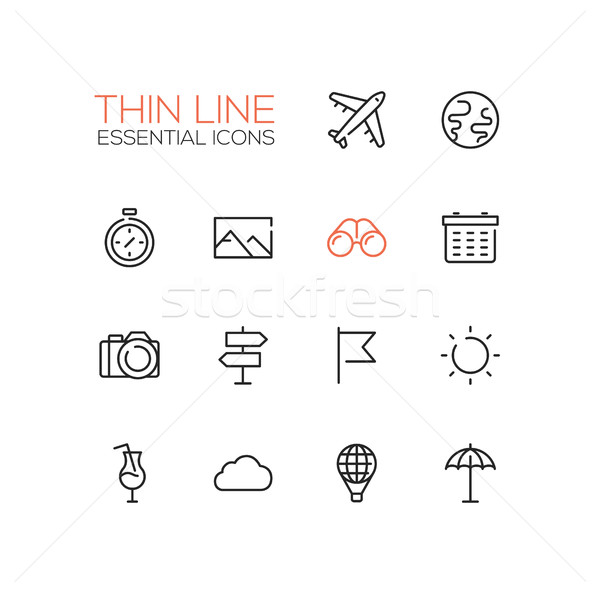 Travel Symbols - thick line design icons set Stock photo © Decorwithme