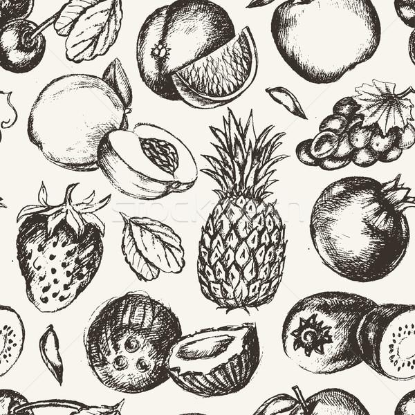 Foto stock: Frutas · vetor · moderno · projeto