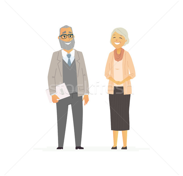 Senior Business Couple - vector flat composition. Stock photo © Decorwithme