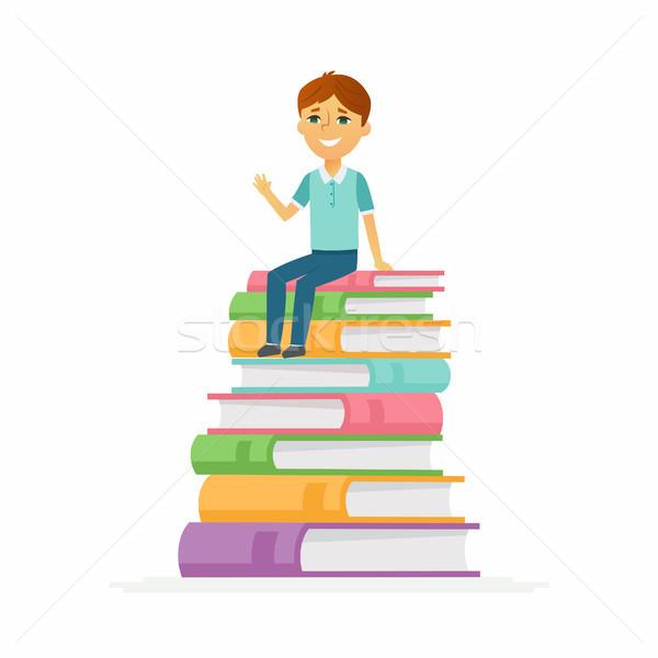 Iskolás fiú betűk boldog gyermek ül könyvek Stock fotó © Decorwithme