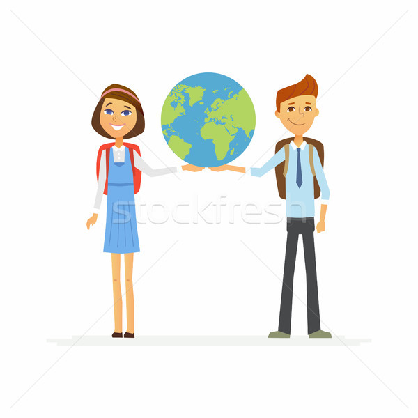 School Children - characters of happy boy, girl holding a globe Stock photo © Decorwithme