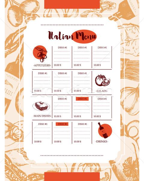 Italiana menu colore vettore Foto d'archivio © Decorwithme