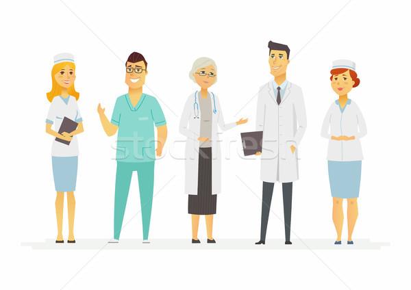 Orvosok rajzolt emberek betűk izolált illusztráció fehér Stock fotó © Decorwithme